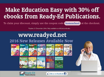 30% discount off ReadyEd Publications for homeschoolers until 31st December 2016